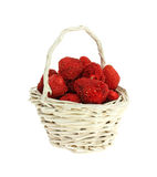 Strawberries in White Basket Royalty Free Stock Image