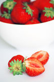 Strawberries in a white bowl Royalty Free Stock Photo