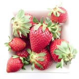 Strawberries. In a white bowl on a white background Stock Photography