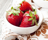 Strawberries in White Bowls Royalty Free Stock Images