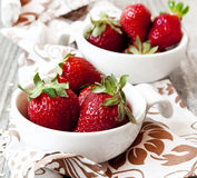 Strawberries in White Bowls Stock Image