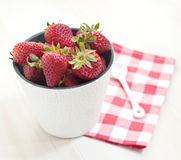 Strawberries in white bucket Royalty Free Stock Photo