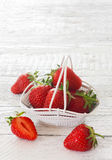 Strawberries in white bucket Royalty Free Stock Image