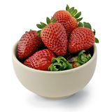 Strawberries in a white cup. Delicious strawberries in a white cup stock images