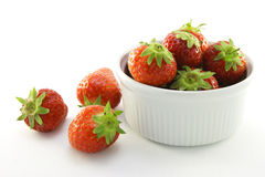 Strawberries in a White Dish Royalty Free Stock Image