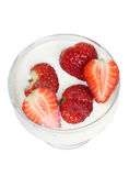 Strawberries in white milk Royalty Free Stock Images