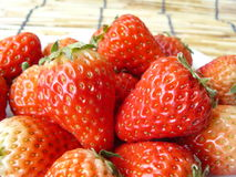 Strawberries on a white plate Royalty Free Stock Images