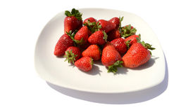 Strawberries on white plate Stock Photography