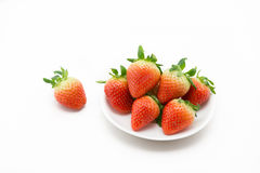 Strawberries on white plate. Stock Photo