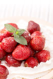 Strawberries in white whipped cream Stock Images