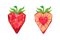 Strawberries Whole Berry and Slice with Flesh in Shape of Heart Royalty Free Stock Photo