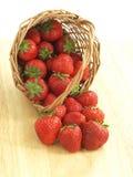 Strawberries from wicker Stock Photo