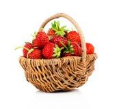 Strawberries in wicker basket Stock Image