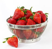 Strawberries in a wire basket Stock Photography