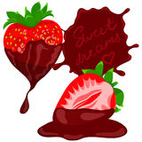 Strawberries wit chocolate. Vector Stock Photo