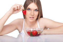 Strawberries woman Royalty Free Stock Photography