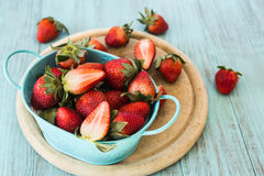 Strawberries on a Wood Cutting Board Royalty Free Stock Photography