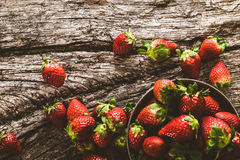 Strawberries on wood Royalty Free Stock Image