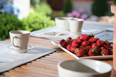 Strawberries on wood table  Royalty Free Stock Image