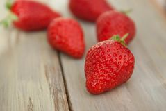 Strawberries on Wooden Background. Summer or Spring Organic Berry over Wood. Isoalted with Copy Paste. Stock Image