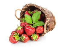 Strawberries in a wooden basket Stock Photo