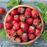 Strawberries in wooden bowl Royalty Free Stock Image