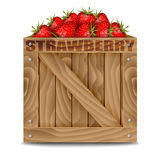 Strawberries in wooden box isolated on white Stock Photography