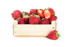 Strawberries in wooden box Stock Photo