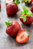 Strawberries  on wooden table Royalty Free Stock Photography