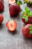 Strawberries  on wooden table Royalty Free Stock Image