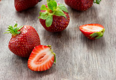 Strawberries  on wooden table Stock Photography