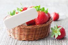 Strawberries with wooden tag Stock Photography