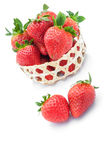 Strawberries in woven basket Stock Photos