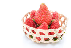 Strawberries in woven basket Royalty Free Stock Photography
