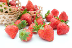 Strawberries and woven baskets Stock Photography