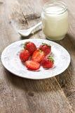 Strawberries and yogurt Stock Photo