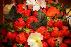 Strawberriy op een stok, lijstdecoratie Stock Afbeelding