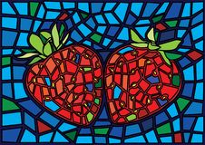 A4_8Strawberry红色果子摩西彩色玻璃例证 皇族释放例证