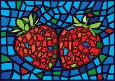 A4_8Strawberry τα κόκκινα φρούτα Μωυσής λεκίασαν την απεικόνιση γυαλιού ελεύθερη απεικόνιση δικαιώματος