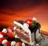 Strawberry. Snack of chocolate cake with strawberry cream Royalty Free Stock Photography