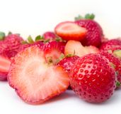 Strawberry. The cut strawberry on a white background Royalty Free Stock Image