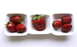 Strawberry. Snack disposed in a three compartment bowl Stock Photography