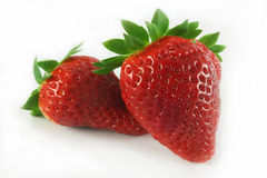 Strawberry. Two strawberry close-up on a white background Stock Photo