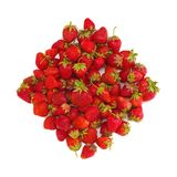 Strawberry. Many ripe red strawberry in form of rhomb on white isolated Stock Photo