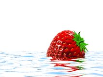 Strawberry. Floating on water 3D Stock Photo