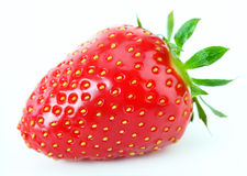 Strawberry. With leaves on white background Stock Images