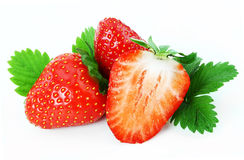Strawberry. With leaves on white background Stock Image