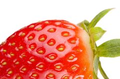 Strawberry. Very close , isolated on white Royalty Free Stock Photography