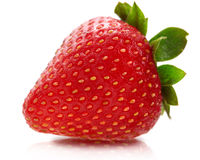 Strawberry. Close up photo of strawberry with reflect on white background Royalty Free Stock Images