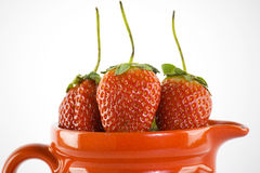 Strawberry. In the red jar Stock Images